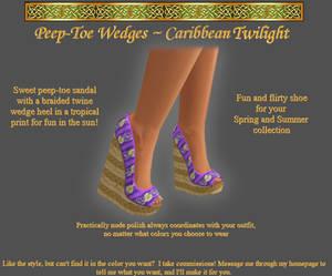 Caribbean Twilight Peep-Toe Wedges
