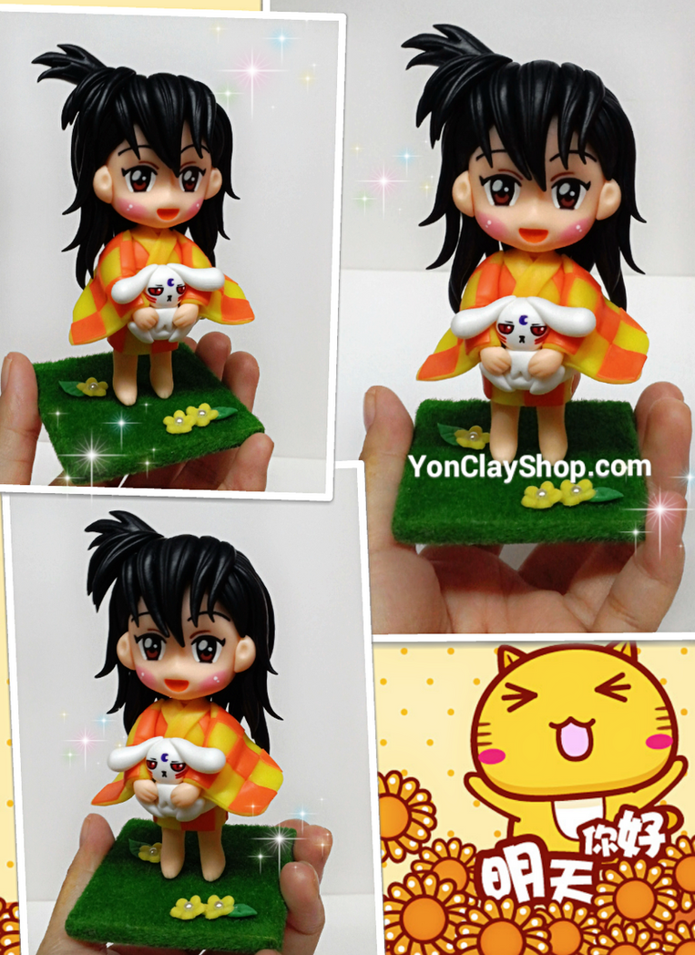 Clay Figure of Rin in Anime Inuyasha by yonkairu