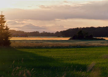 Sunset over fields by photodeus