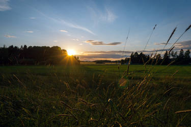 Sunset over fields 2 by photodeus