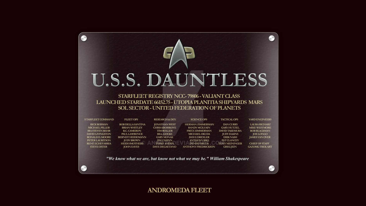 Dedication Plaque - USS Dauntless by anno78 on DeviantArt