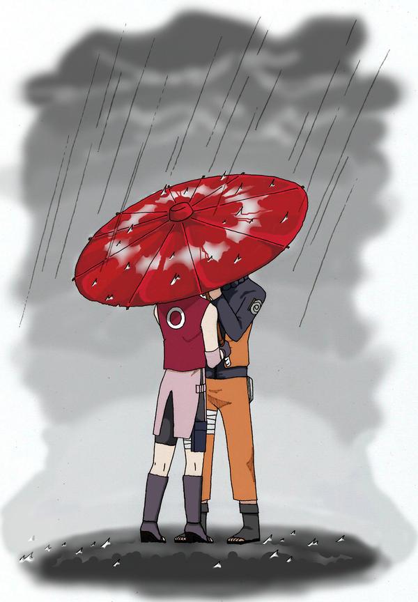 Under a red umbrella Narusaku by SaruwatariMiharu