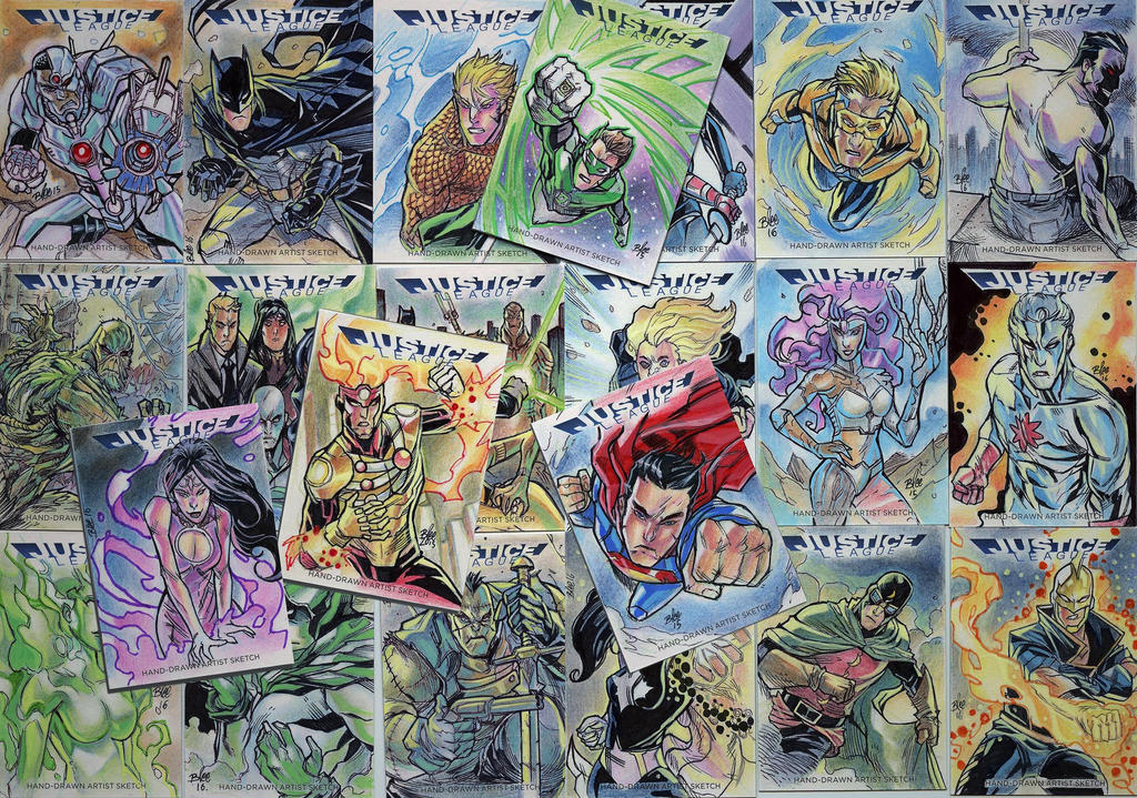 justice league sketch cards by toonfed