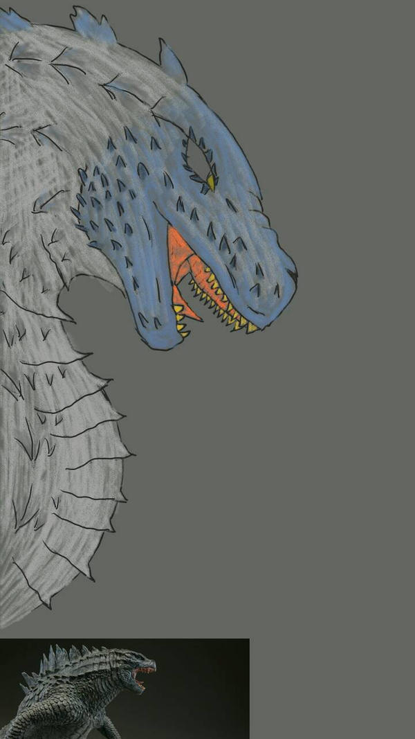 Godzilla Doodle (not very good heh) by aerithedrgn