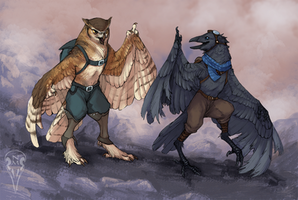 Commission: Owl and Crow by tashcrow