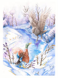 Crow and Duck Watercolour by tashcrow