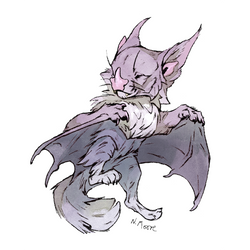 Inked and coloured Batcat