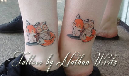 Owl and Fox Tattoos by bbqedmarv