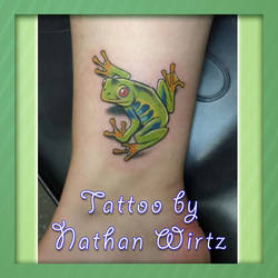 Colorful Frog Tattoo by bbqedmarv