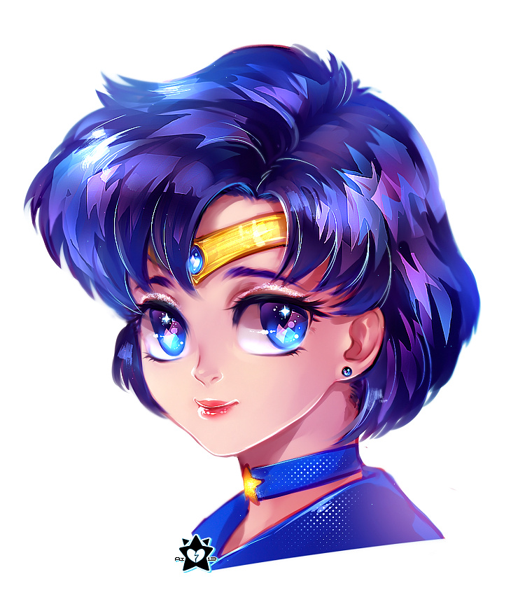 Sailor Mercury Portrait by E-X-P-I-E
