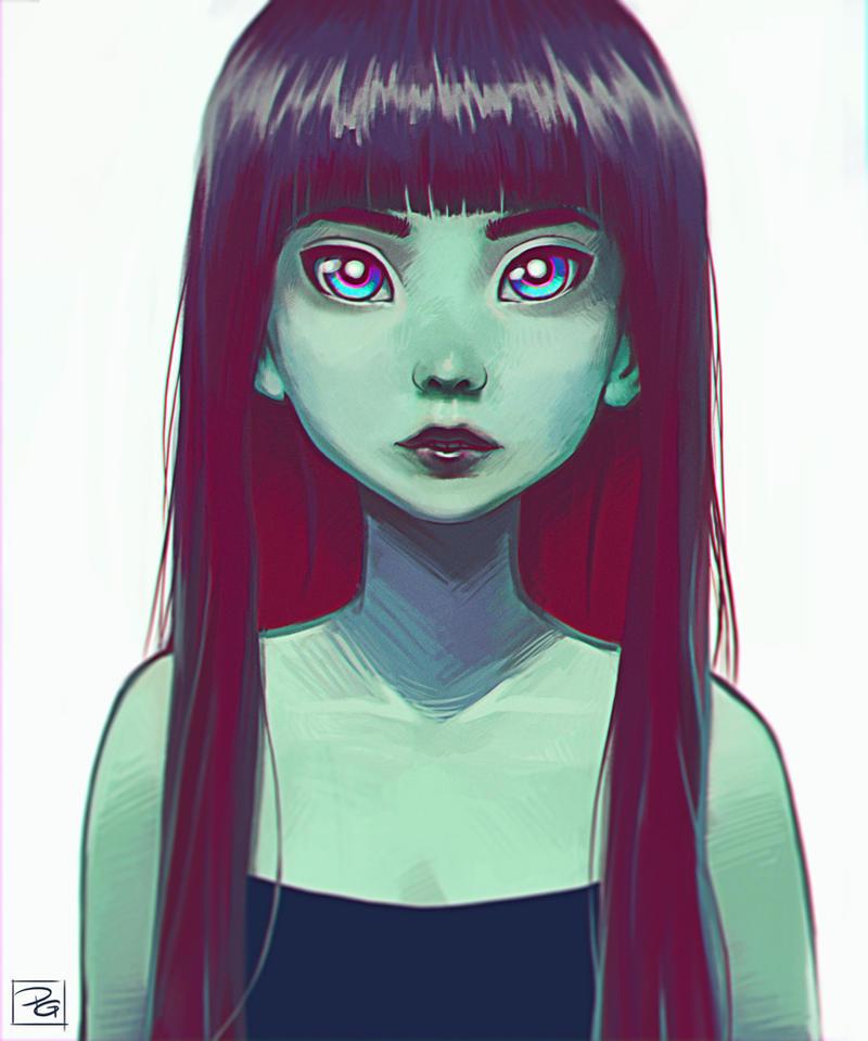 Green girl by Filika