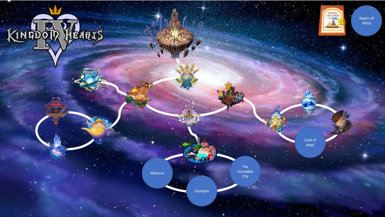 Kingdom Hearts 1 World Map Fangame Kingdom Hearts IV   World Map  Incomplete  by coldeye125