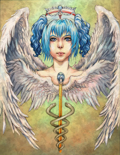 PSEUDO  Healing Angel heashot CG by Denaliah