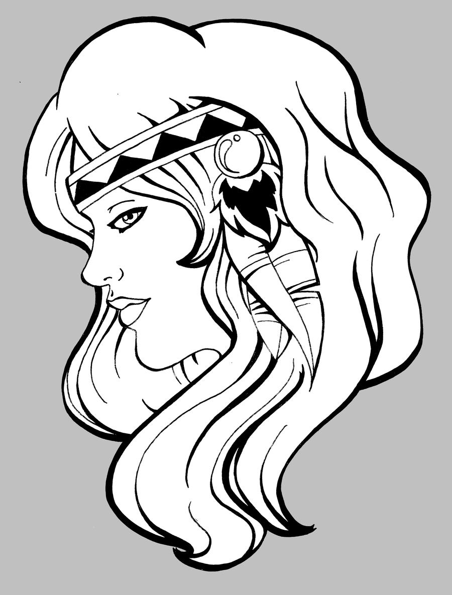 Indian girl by shinu chan on deviantart for Girl indian coloring pages