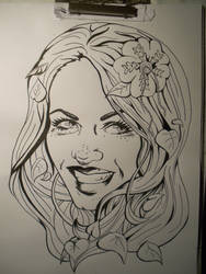 Poison Ivy on chinese ink WIP