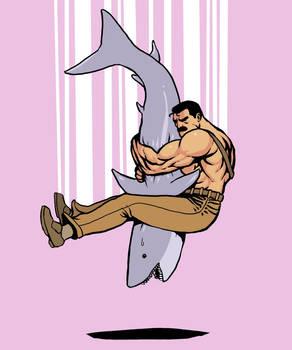 Haggar piledriving a shark