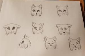 Cat emotions sketch by Karren-san