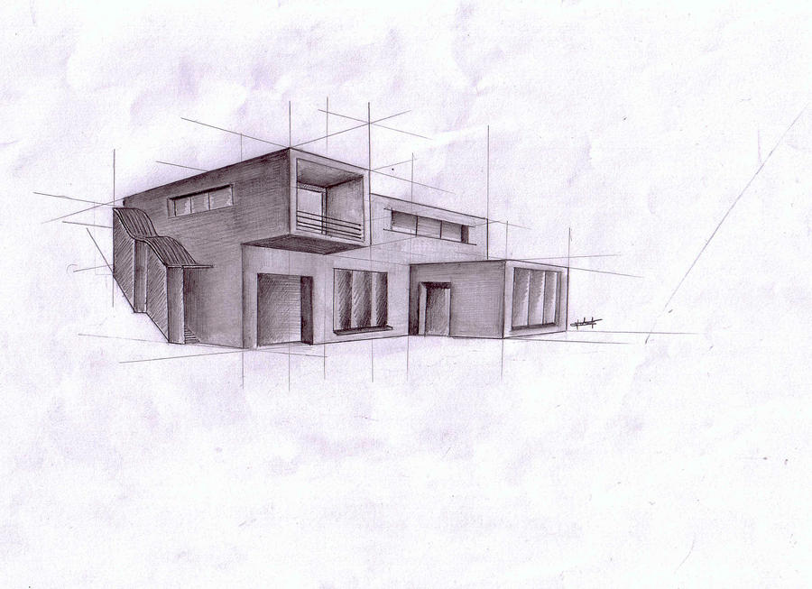 Modern Architecture Sketches 28+ [ house architecture drawing ] | cube house architectural