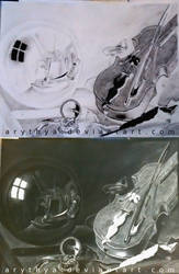 Still Life with Violin and Glass Ball - Inverted