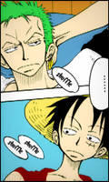 Luffy and Zoro by LadyNoa