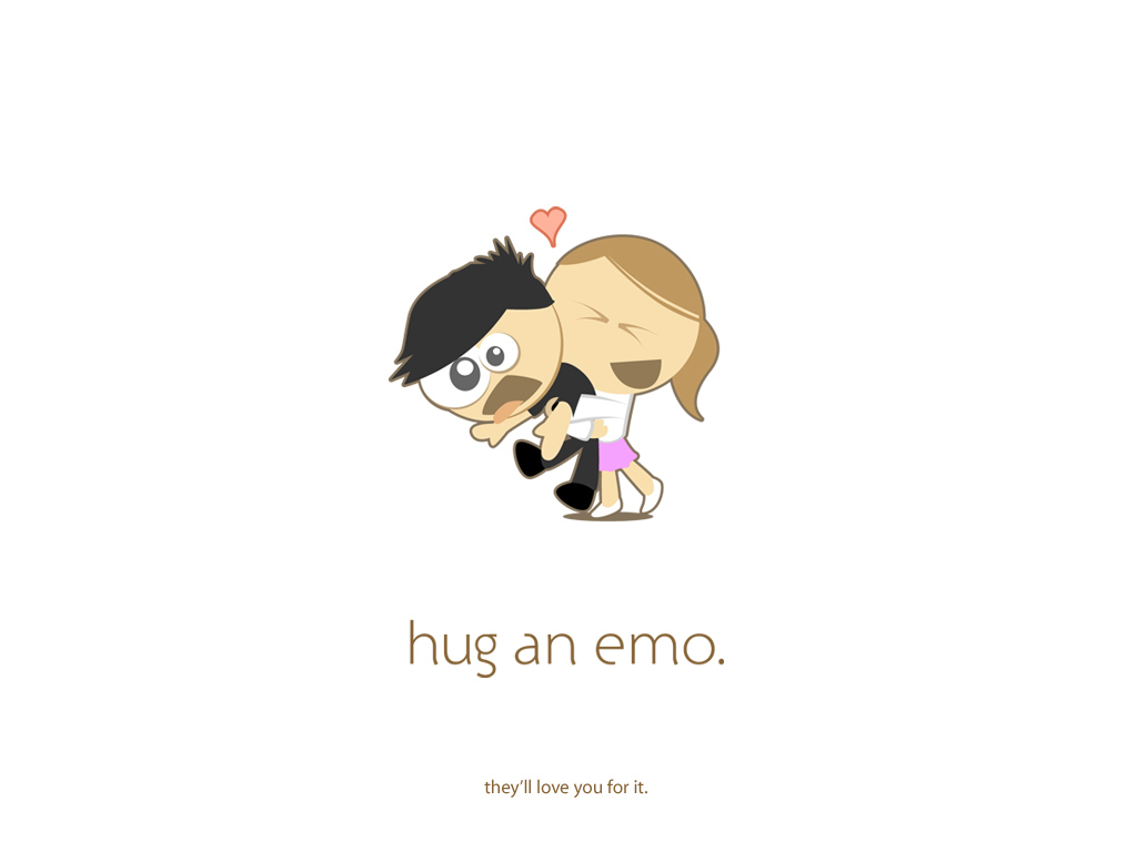hug an emo - white by ya3