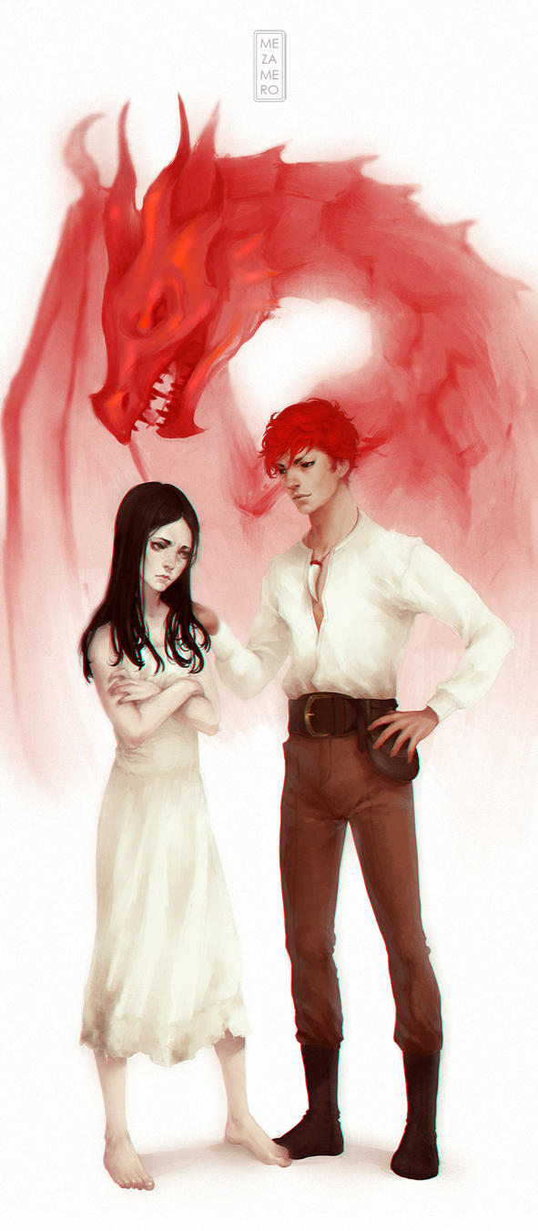 The girl and the dragon by Mezamero