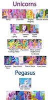 Katarakta4's G3 pegasi,breezies,unicorn profiles