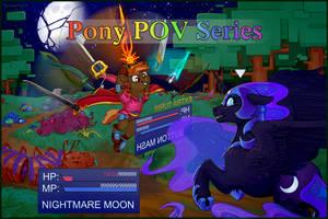 Pony POV Button vs Nightmare Moon by iguanodragon