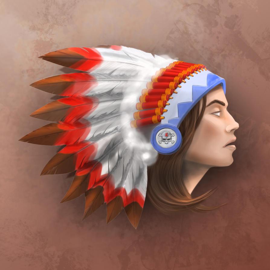 Natve American head by barmadzilla