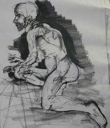 life drawing of man on 1 knee by Halli