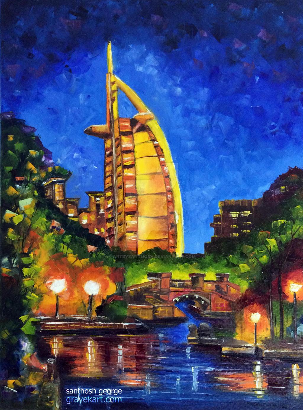 D Painting Exhibition In Dubai : Dubai burj al arab by artbysanthosh on deviantart
