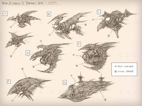 Dragonship - concept sketches