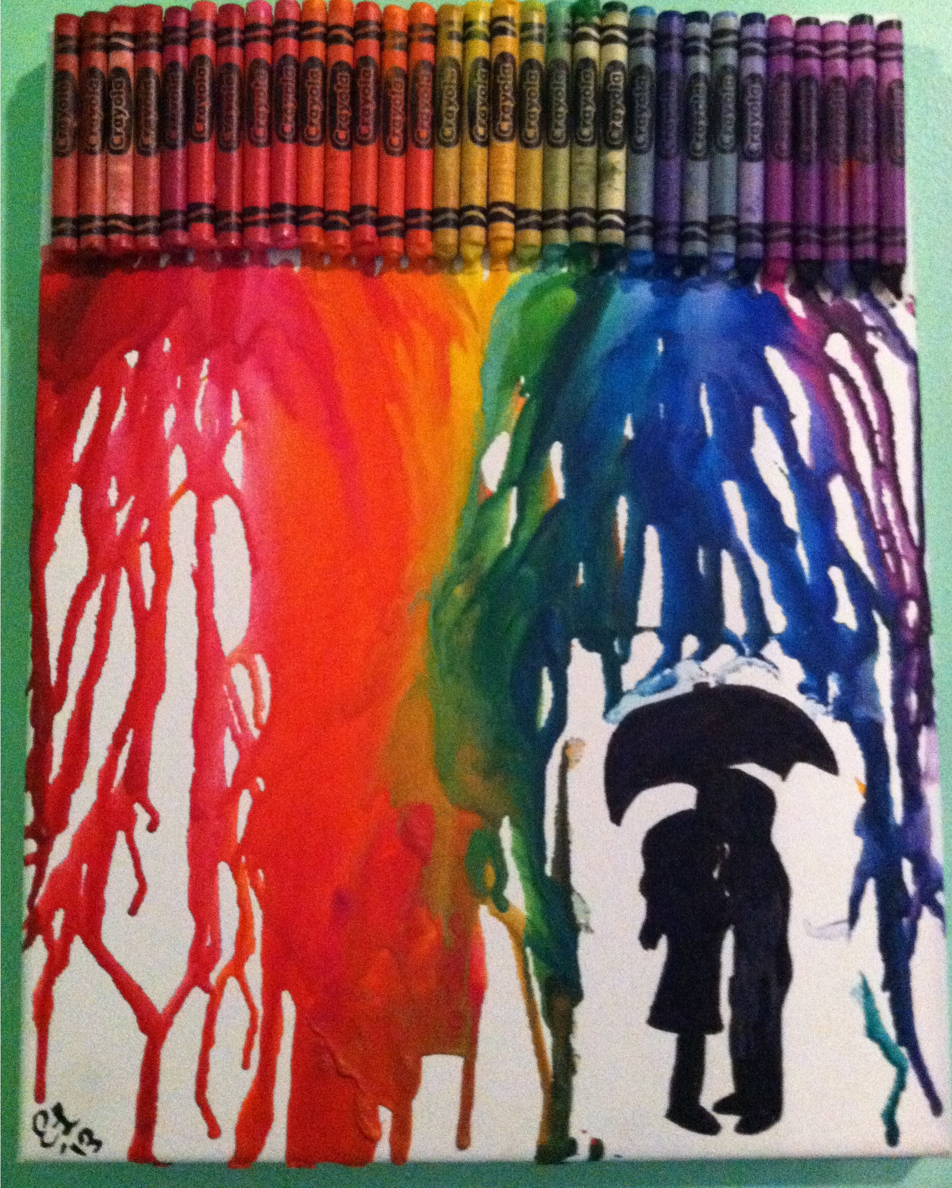 gt  Gallery For  gt  couple kissing under umbrella silhouette crayon artCouple Silhouette Umbrella Crayon Art