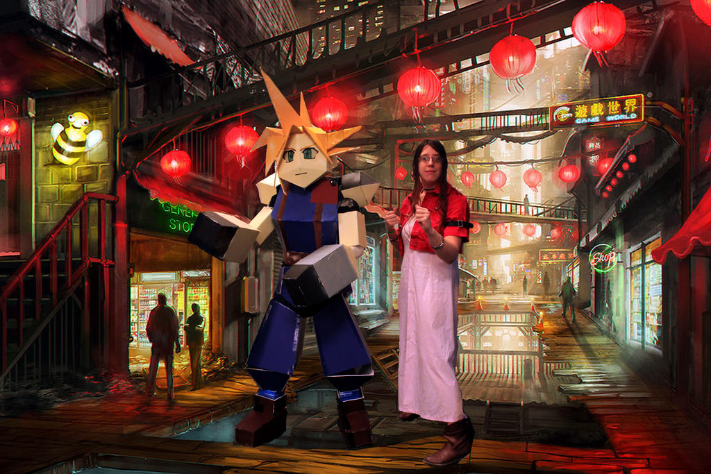 Cloud and Aeris in Wall Market by kaieru on DeviantArt