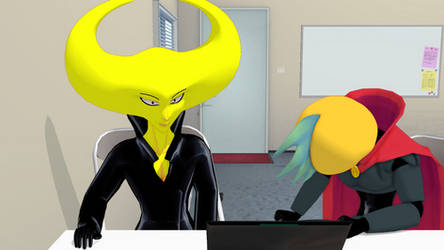 [MMD Hylics] Gibby slams a desk and leaves [Video]