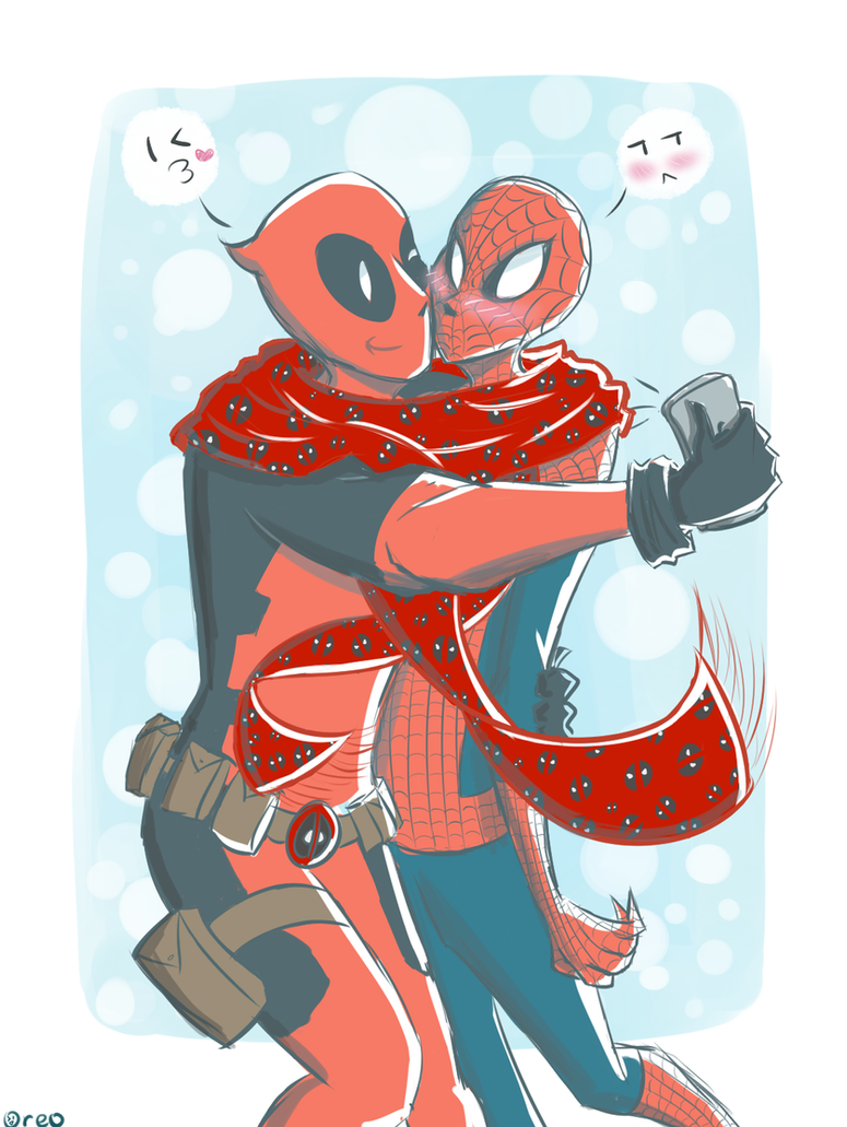Selfie Scarf Sharing Spideypool by FrostyOreos