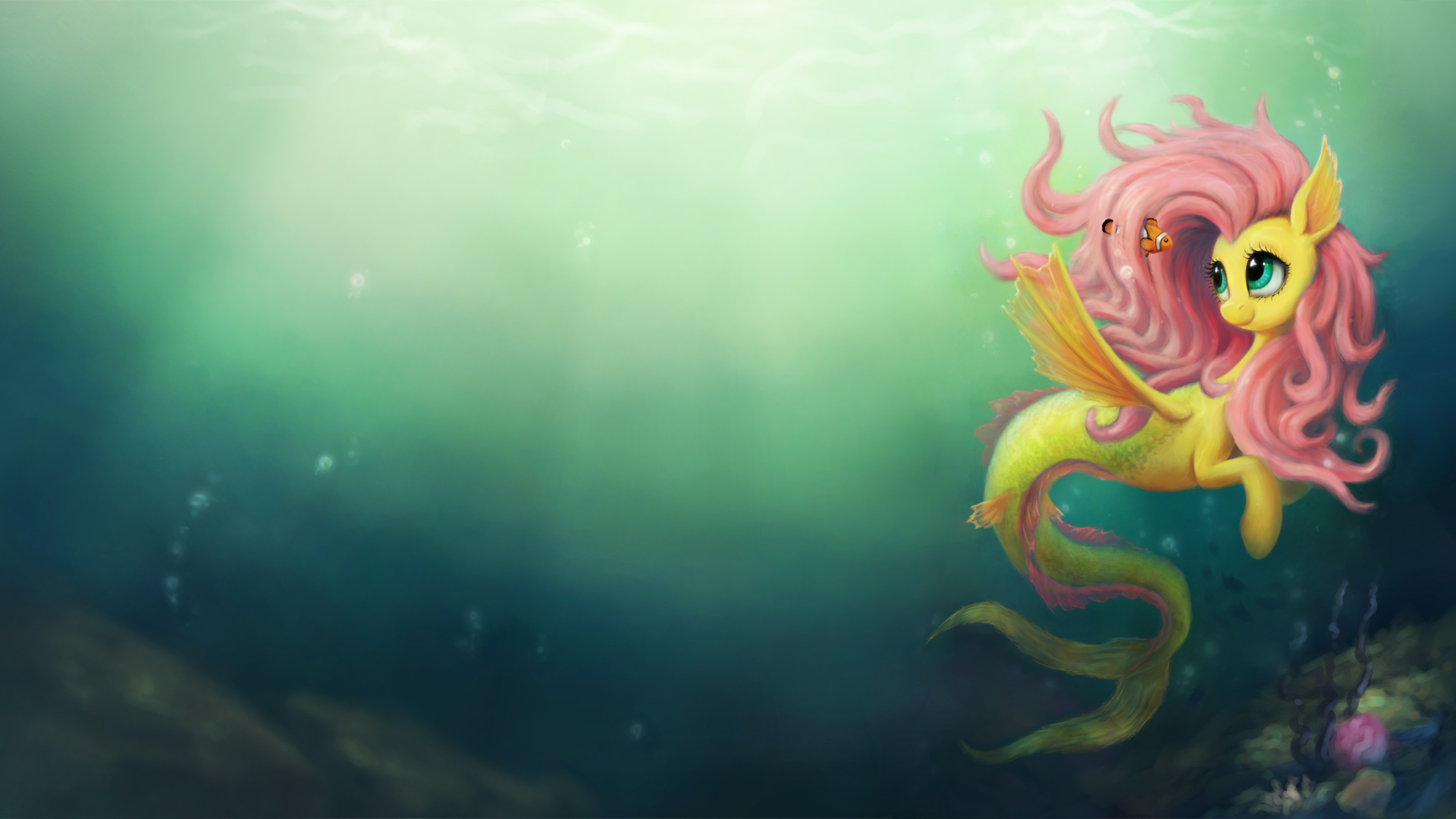 Fluttershy the Seapony Wallpaper by Br0ny