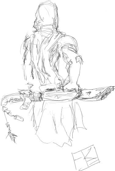 sketch  hooded swordsman by robertekew on deviantart