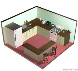 Isometric Silent Hill The Kitchen by sugoiE