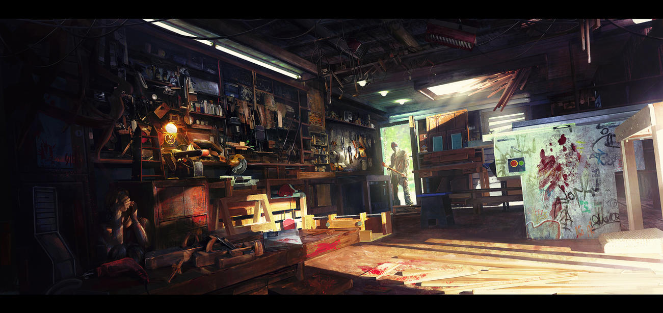 The Lunatic Carpenter by Najeeb-Alnajjar