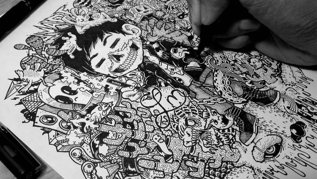 Doodle Art WIP: Skully by LeiMelendres