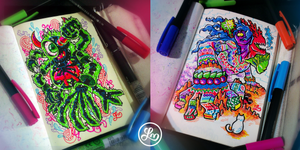 Colored Doodle Monsters