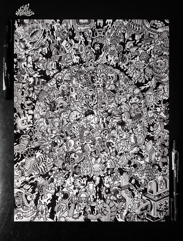 Doodle monster battle royale by lei melendres on deviantart for Doodle art monster