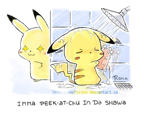 Peekatchu in da Shawa. by Sephirona