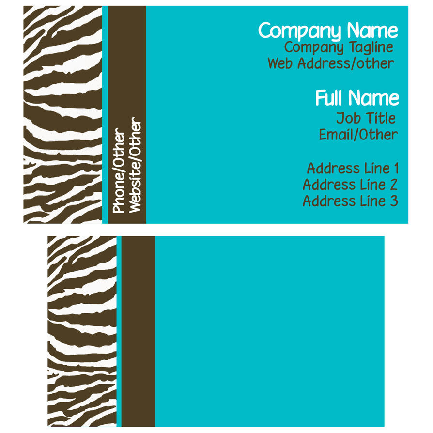 Brown And Blue Zebra Business Card Template By StacyO On DeviantArt - Blank business card design template