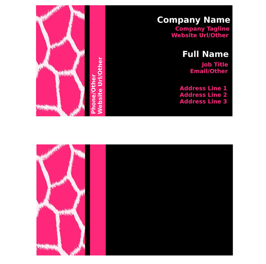 Pink and Black Giraffe Business Card Templates by StacyO on DeviantArt – Blank Business Card Template