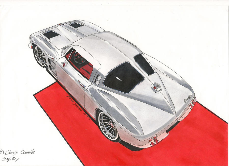 Window splitted '63 Sting Ray Car Drawing