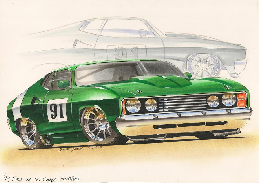 Customized '78 Ford Coupe Car sketch