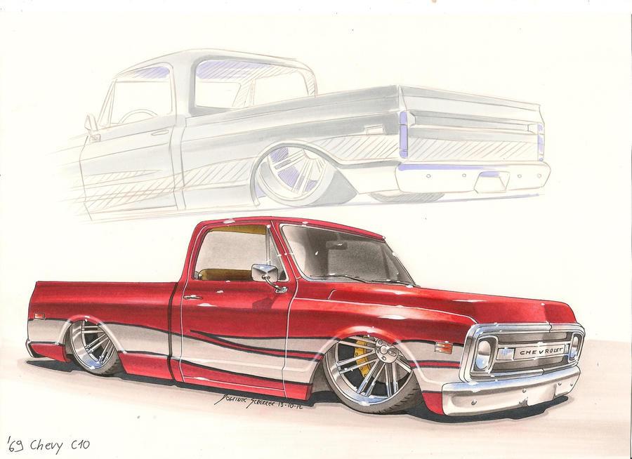 Bagged '69 Chevy C10 Car sketch