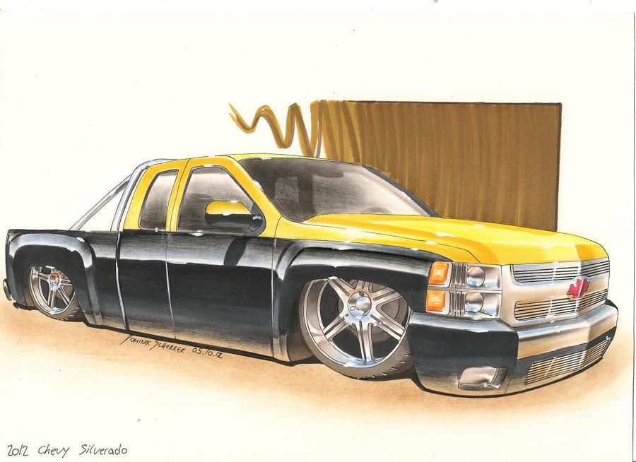 Black'n'Yellow 2012 Chevy Silverado Car sketch